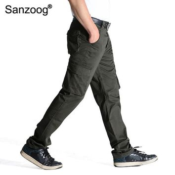 2017 Summer Autumn Casual Men Classic Cargo Pants 100% Cotton Solid Pocket Long Male Trousers 2 Colors Style Size 31-44