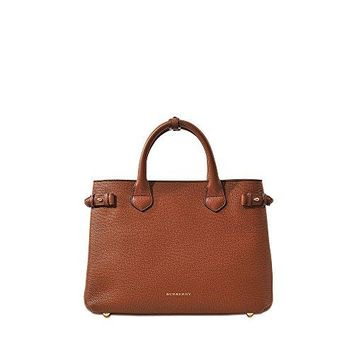 Burberry 39807941 Medium Banner House Check Leather Ladies Tote Bag