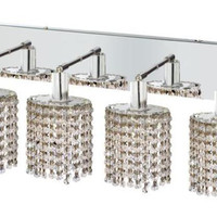 Wiatt - Wall Fixture Oblong Canopy with Ellipse Pendant (4 Light Contemporary Crystal Vanity Fixture) - 1092W-O-E