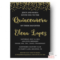 Gold Glitter Quinceanera Invitation - Black and Gold Quinceanera Invites - Gold Glitter Invitations - Confetti Birthday Invitation PRINTABLE