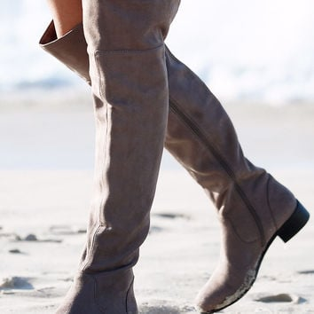 Strut High Knee Boots - Dark Taupe | SABO SKIRT