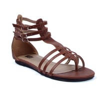 Brown Roman Sandal Womens Shoes Gladiator Flat Shoe Theatre Costumes Accessory