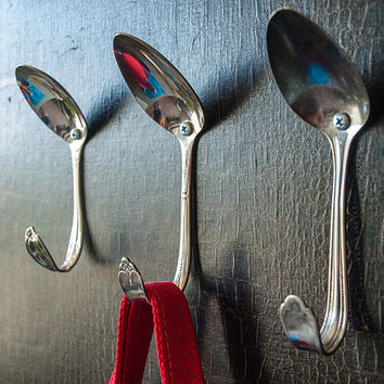 Reclaimed Vintage Tablespoon Wall Hook, Set 3