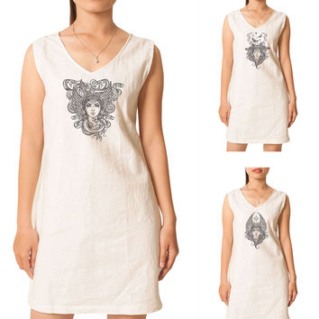 Hand draw Religion Female Portrait Printed Vintage Linen Mini Shift Dress WDS_02