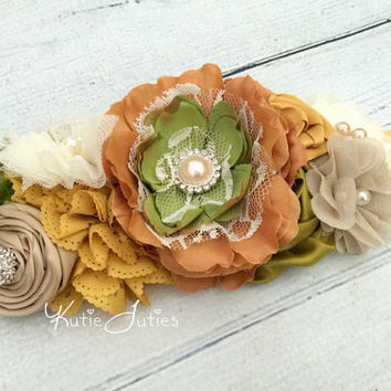 Rustic Lace- Gold, Beige, Green, Ivory, Sash- Gender Reveal, Bridal Sash, Photo Prop, Vintage, Belt, Wedding, Maternity, Baby Girl, Flowers