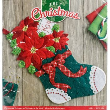 "Christmas Poinsettia Bucilla Felt Stocking Applique Kit 18"" Long"