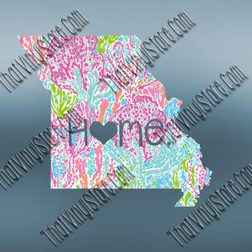 Missouri Heart Home Decal | I Love Missouri Decal | Homestate Decals | Love Sticker | Preppy State Sticker | Preppy State | 065