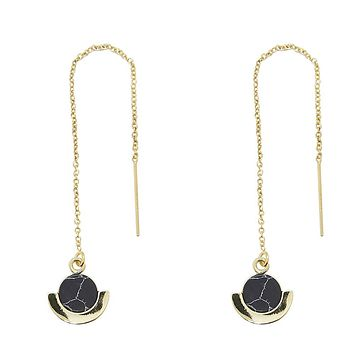 Circle Deco Black Marble Howlite Threader Earrings