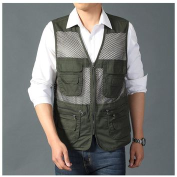 2PCS Fishing Vest Outdoor Quick-Dry; Multi Pockets Mesh Vest Fishing Hunting Waistcoat TOPIND Travel Jackets