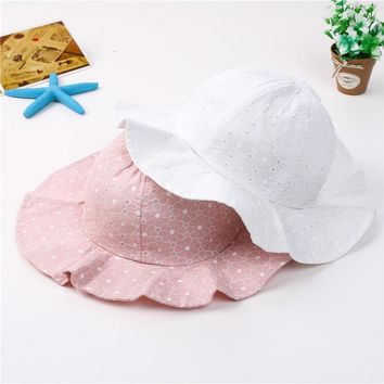 2018 Infant Summer Outdoor Baby Girl Visor Cotton Sun Cap Baby Hat Floral Prints Beach Bucket Hats Headwear Caps Brim Sun Hat