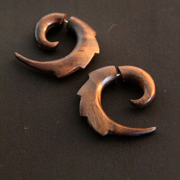 "Handmade Wood Earrings, Fake Gauges Spiral Earring w Rigid Tribal Spiral Design, Tribal ""Landak"" Wooden Earrings"
