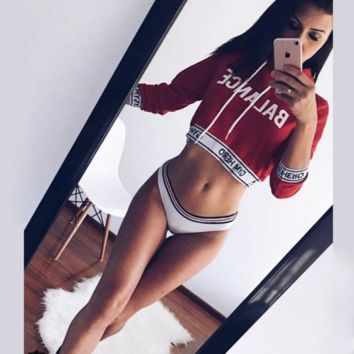 Letter Print Women Casual Hooded Long Sleeve Sweater Tops
