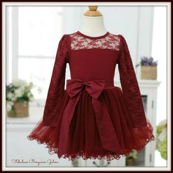 Baby Girl Fall Eleanor Burgundy Chiffon and Cotton Tulle Occasion Lace Dress