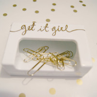 Get It Girl White Magnetic Paper Clip Holder w/ 10 Gold Clips/Home Office/Working Girl/College