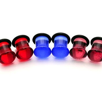 Set of 3 Pairs Single Flare Glass Plugs (Blue, Purple, Red) - 2g (6mm)