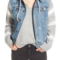 Thread & Supply Sweater Sleeve Hooded Denim Jacket | Nordstrom