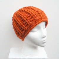 Pumpkin Orange Chunky Crochet Beanie Hat, unisex wool blend hat, ready to ship.