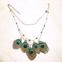 Peacock Feather Necklace by cojospace