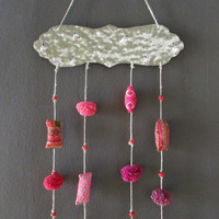 Textile Pockets Ethnic Mobile, Colorful Joyful Hanging Home Decor, Metalwork Decoration