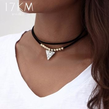 17KM Triangle Stone Choker Double Layer Unicorn Necklaces for Women Fashion Beads Pendant Collier Leather Necklace Boho Jewelry