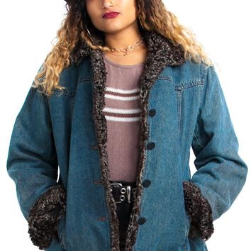 Vintage 90's Esprit Cozy Denim Coat - One Size Fits Many