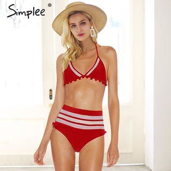 Simplee Sexy padded mesh women underwear set Halter high waist bra brief sets intimates 2018 Summer beach boho chic lingerie