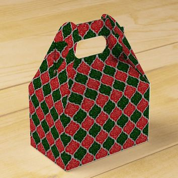 MQF-Sequins-Red-Dark Green-Silver-Gable Favor Box