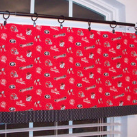 Custom Boutique Red and Black Georgia Bulldog Valance- GA Bulldog Curtain - for Kitchen, Bathroom, Laundry, Bedroom - Window Treatments