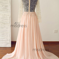 Blush Peach Pink Chiffon Bridesmaid Dress Prom Dress Long Tulle Sleeves Beading Sheer See Through Wedding Dress