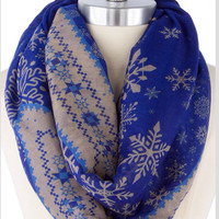 Blue Infinity Scarf Christmas Scarf Pretty Snowflake Scarf Stocking Stuffer - By PiYOYO