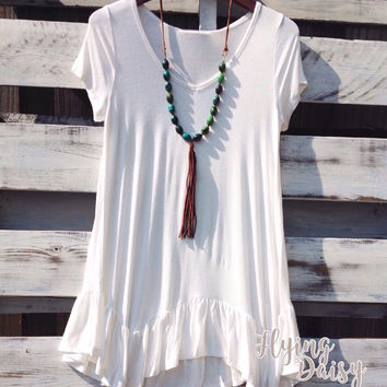 Long Ruffle Tunic Top - Off White