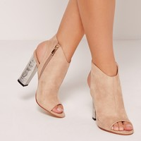 Missguided - Crushed Silver Heel Peep Toe Block Heel Boots Nude