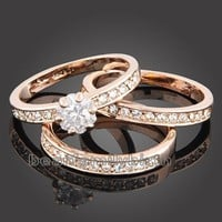 18K rose Gold plated crystal wedding ring 1517