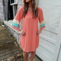 Peach Ruffle Sleeve Dress