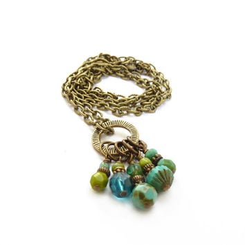 Turquoise Charm Necklace - Antiqued Bronze Chain - Czech Glass Bead Charms - Bohemian Necklace