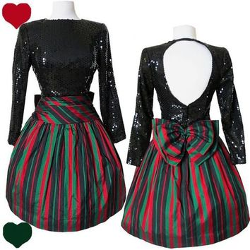 Vintage 80s CHRISTMAS Red Green Holiday PARTY Prom Dress S M Sequin FULL SKIRT