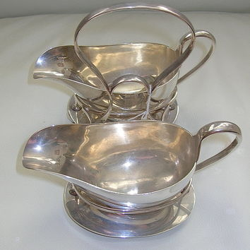Graceful Vintage Double Silver Gravy Boats