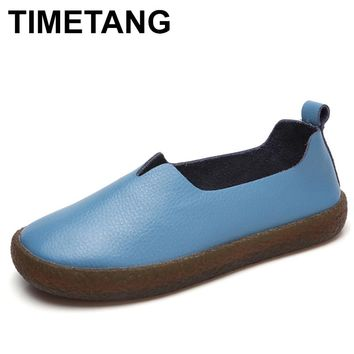 TIMETANG Women Shoes Genuine Leather Ballet Flats Rubber Personality Soft Flats Slip On Comfort Casual Loafer 2018 Summers C301