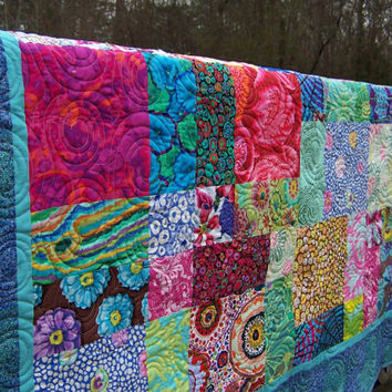 Designer Fabric Lap Couch Throw Quilt Hand Dyed Patchwork Kaffe Fassett
