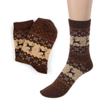 LandFox   Cute Christmas Deer Design Casual Knit Wool Socks Warm  Mens Women BL