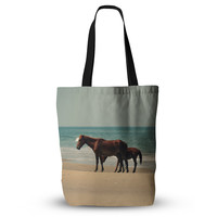"Robin Dickinson ""Sandy Toes"" Beach Horses Everything Tote Bag"