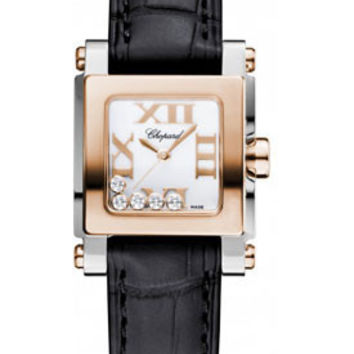 Chopard - Happy Sport - Square Mini - Stainless Steel and Rose Gold