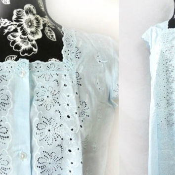 Vintage Broderie Anglaise Long Nightgown//Pale Blue Floral Eyelet Lingerie, Women's Clothing, New Old Stock