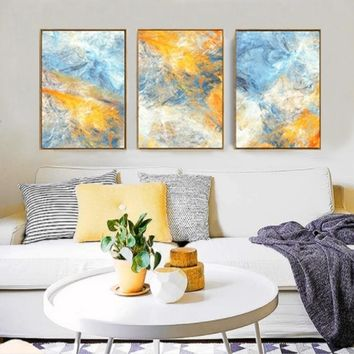 SURE LIFE Modern Abstract Watercolor Blue Yellow Home Decoration Wall Art Pictures Canvas Paintings Poster Print Living Room