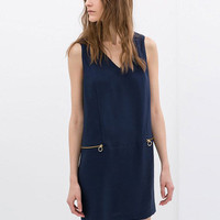 Sleeveless V-Neck Zipper Pocket Shift Mini Dress