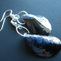 Mussel- Clam- Shell- Cobalt- Blue- Pearl- Silver- Earrings- Pacific Northwest- Puget Sound- Coast- Beach- Ocean- Souvenir- Gift Idea
