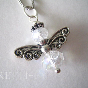 Crystal Angel Charm Necklace, Sterling Silver Necklace, Silver Charm Jewelry, Angel Jewelry, Crystal Charm Necklace, Angel Necklaces,