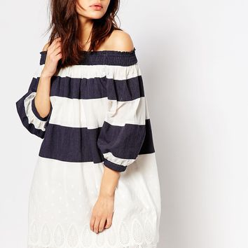 I Love Friday Off Shoulder Dress In Banded Stripe With Lace Trims