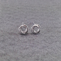 Circle Love Knot Ball Ear Studs, Tiny Rings Sterling Silver Ear Studs, Knot Stud Silver earrings, Minimalist Jewelry,  Everyday jewelry