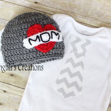 Mother's Day Baby Bodysuit Baby Bodysuit and Hat MOM Tattoo Crochet Hat, Mothers Day Hat, Newborn Photo Prop,Infant Boys Heart Hat